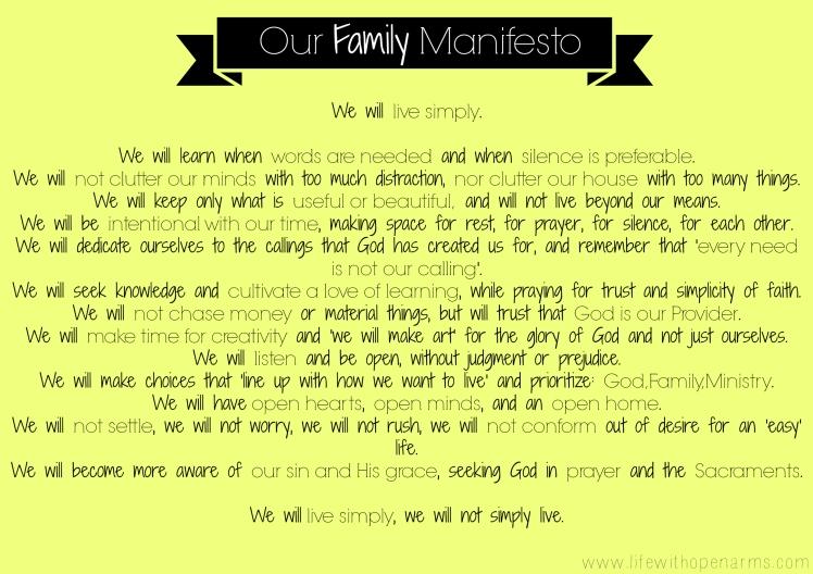 Our Family Manifesto